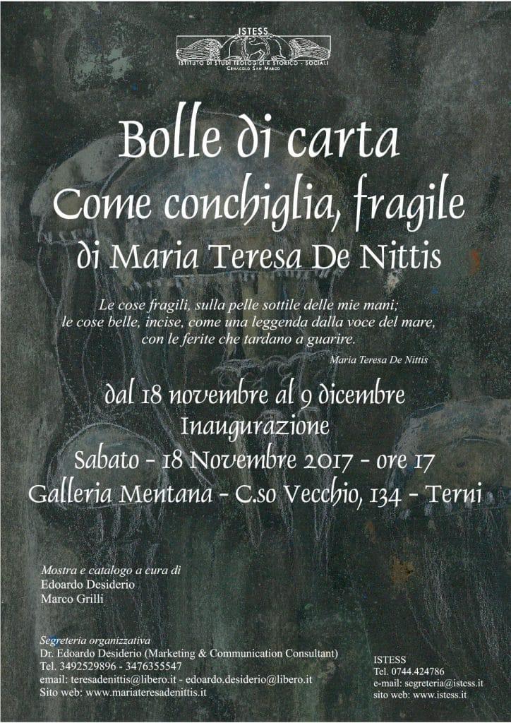 Bolle di Carta. Come conchiglia, fragile – Personale di Maria Teresa De Nittis